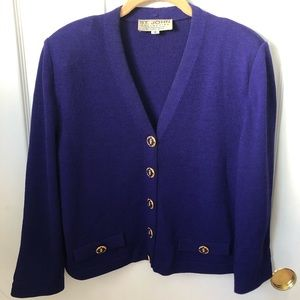St. John purple Santana knit cardigan sweater
